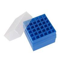 Boîte de rack de tube à essai en plastique 36 trous avec couvercle 10 ml / 15 ml de laboratoire de support de tube centrifuge JLLIJI
