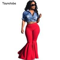 """Цуретобой плюс размер моды рюшачьи брюки брюки широкие ноги женщины красочные bodycon середины талии колокол """"брюки винтажный твердый брюк 201111"""