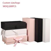 Personnaliser le logo 10pcs / Lot Paperboard Pliant Boîte rigide Fermeture magnétique 3 Couleurs Disponible Emballage Perruques de cheveux Case Cosmétique Case Code