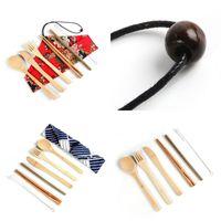 Eco amigável bambu kit de talheres portátil faca de palha garfo colher terno terno com saco de pano 7 pcs um conjunto 7 6zr uu