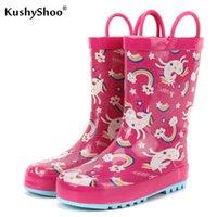 Kushyshoo çocuk açık su geçirmez sevimli unicorns yağmur çocuklar 2020 yeni su yürümeye başlayan çocuk kız çizmeler Q1216