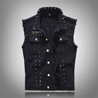 Новый 2020 джинсовый жилет мужской панк-рок заклепка ковбой черный джинсы жилет моды мужские мотоциклетки без рукавов джинсовая куртка M- LJ200916