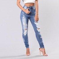 Damen Jeans 2021 Mode und lässig Feste Farblöcher Bilanztaschen High-Tailles Abnehmen Daily Bleistift Lange Hose
