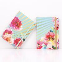 A5 دفتر جدول الأعمال مخطط المنظم المجلات يوميات كتاب الأزهار المطبوعة غلاف فني المفكرة مع إغلاق مرونة النطاقات IIF2872