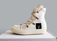 2020SS Outlet usine Nouvelle liste de haute qualité principale ligne de couture ligne toile bottes bottes de rivets blancs de dentelle hap hip hop street bottes