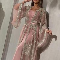 Abaya 두바이 이슬람 드레스 럭셔리 하이 클래스 장식 조각 자수 레이스 라마단 KAFTAN 이슬람 기모노 여성 블랙 맥시 드레스 2021