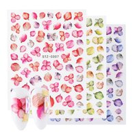 Настоящий цветок ногтей стикеры 3D клейкие наклейки листья бабочка клена дизайн ногтей красочные украшения обертываются бесплатный корабль