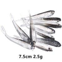 20 шт. / Лот 7,5 см 2,5 г 3D Глаза Бионные рыбы Силиконовые Рыболовные Приманки Мягкие Приманки Приманки Искусственная Приманка PESCA Рыболовные снасти Аксессуары Luo_007