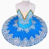 المرحلة ارتداء الأزرق الباليه اللباس الرقص الشرقي توتو التنانير للفتيات قليلا لطيف أداء ازياء عالية الجودة 1