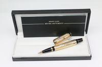 أعلى جودة ذهبي اللون Rollerball Pen مكتب القرطاسية مع ترصيع الماس تقليم والرقم التسلسلي ولون تسليم عشوائي