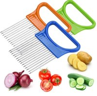 Easy Cut Onion Holder Fork Stainless Steel +Plastic Vegetable Slicer Tomato Cutter Metal Meat Needle Gadgets Meat Frok 4 colors IIF44