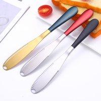 الزبدة سكين المقاوم للصدأ سكين مع ثقب كعكة الخبز مربى سكين خبز الجبن كريم سكاكين المنزل بار المطبخ الأطباق أداة 8 ألوان YYS3828