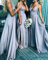 Sexy V-образные вырезы плюс размер платья подружки невесты длинные спинки высокая сторона сплит длина длиной полов плитс драпированные свадьбы гостевые платья горничные платья