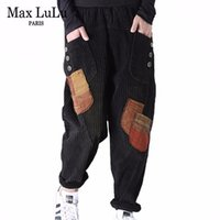 Max lulu primavera 2020 coreano senhoras retalhos pantalons mulheres soltas calças vintage casual streetwear corduroy calças elásticas lj201103