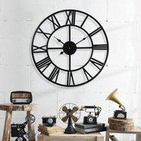 المعادن ساعة الحائط خمر شنقا ساعة الحائط الصامت الحديد الروماني الأرقام الزخرفية لغرفة المعيشة مطبخ نوم