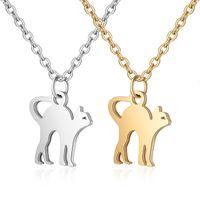 Preço de fábrica Nova moda 316L de aço inoxidável Colar de pingente bonito para mulheres homens design simples animal de estimação gato charme ouro silv
