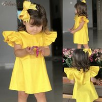 Baby Girls Clothes Summer Baby Dress Fly Sleeve Newborn Infant Dresses Solid Color Bow Dress Kids Girl Clothes 27 Q1223