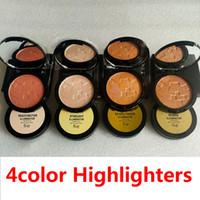 Marque Highlighters 4 Couleurs Glow Powder 4 Couleurs Diamant Bronze Corps de Bronze Tourlighter Visage de la poudre Maquillage Enregistrer la poudre pressée