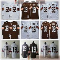 NCAA Futebol Retro Vintage 19 Bernie Kosar Jersey Branco Costurado 32 Jim Jerseys Melhor Qualidade Melhor Qualidade Manga Longa Camisa Jersey