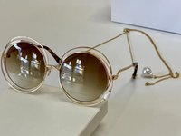 1145 Moda Güneş Gözlüğü Ile UV Koruma Kadınlar Için Vintage Yuvarlak Metal Çerçeve Popüler En Kaliteli Gelin Case Classic ile Zincir Gözlüklü