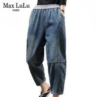 Max Lulu 2019 Fondes Coréennes Nouvelle fourrure d'hiver Chaud Denim Pantalons Dames Overdize Harem Pantalon Harem Femmes Vintage Élastique Jeans