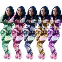 Tie Dye Womens Two Piece Pants Long Sleeve Stand Collar Slim...