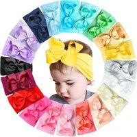 20 ألوان الطفل النايلون معقود رباطات البنات كبيرة 4.5 بوصة الشعر الانحناء الرأس يلتف الأطفال حديثي الولادة الأطفال الصغار hairbands LJ20126