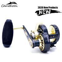 Camekoon saltwater pescaria reel esquerda / direita lidar com rodas de jigging lentamente trolling pesca roda até 32kg max arrastar toda a roda de metal