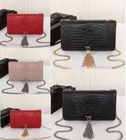 Женский кошелек роскошный дизайнерская сумка Kate Bags Crocodile Pattern Real кожа цепи на плечо сумка высокого качества кисточка сумка 24см