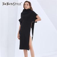 Twotwinstyle Casual Preto vestido de malha para mulheres turtleneck batwing manga lado split midi vestidos feminino 2020 outono moda lj201114
