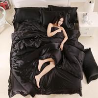 100% хорошее качество сатин шелковые постельные принадлежности плоский сплошной цвет королева королева размера король 4шт 4шт одеяла + плоский лист + наволочка двойной размер1