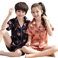 2019 nova lapela impresso seda de mangas curtas pijamas de manga curta meninas urso desenhos animados desgaste caseiro desgaste criança criança pijama pjs for kids