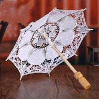 Beyaz Saf Beyaz Dantel Şemsiye İşlemeli Pamuk Avrupa Düğün Fotoğraf Sahne Şemsiye Sıcak Satış 48ny M2