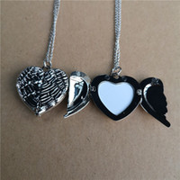 sublimation blank angel wings locket photo necklaces pendants fashion hot transfer printing blank jewelry consumables new style