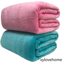 Super Soft Coral Fleece Blanket 220gsm Light Weight Solid Pi...