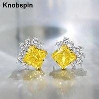 Knobspin 100% 925 argent sterling 2021 mode classique carré pétale haute carbone diamant pour femmes boucle d'oreille bijouterie fête de mariage