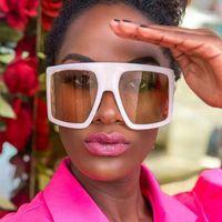 Солнцезащитные очки большие оттенки белый щит солнцезащитные очки для мужчин дизайнер один штук женская мода маска негабаритные очки1