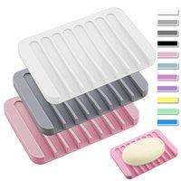 Moda Silikon Sabun Yemekleri Plaka Tutucu Tepsi Süzgeç Duş Banyo Mutfak Counter 16 Renkler Için Su Geçirmez Sabun Yemekleri LLS719