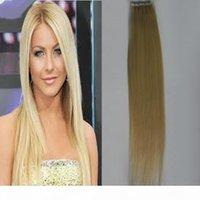 """الشريط في الشعر البشري 40PCS مزدوجة الوجهين شقراء اللون 14-24 """"حقيقي ريمي الإنسان الشعر البشري 2.5 جرام لكل قطعة الشريط في شقراء الشعر"""