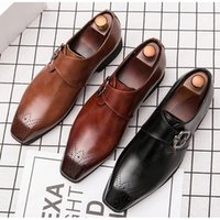 Sapatos formais sapato social masculino confortável fivela de couro sapatos homens elegante escritório escritório sapatos vermelho preto marrom
