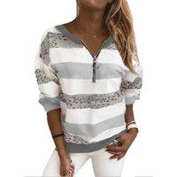 Hoodies das mulheres camisolas Mulheres Pullovers Zipper Up V-Neck Sweastshirt Cópia listrada Casual Roupas femininas de manga comprida Outono