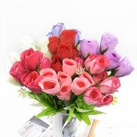 Fleurs décoratives Couronnes 37cm 7 Forks Heads Bouquet Rose Holding Holiday Holiday Fournitures Salon Décoration Fake Diy Artisanat Bonsaï