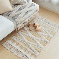 60x90cm Quaste Retro Bohemische Teppich Hand Gewebt Baumwolle Leinen Teppiche Teppichbodenboden Matte Wohnzimmer Schlafzimmer Teppich Home Decor