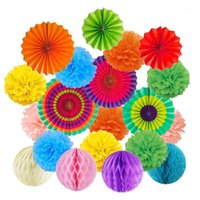 Tissue Paper Fans Party Birthday Mexican Fiesta Hanging Paper Fans Home Decor DIY Pompoms Flower Honeycomb Ball Decoration1
