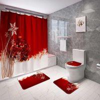 Cortinas de chuveiro 3 + 1 pcs design de natal cortina toalete tampa de assento flanela esteira antiderrapante tapetes à prova d 'água tampa da casa de banho