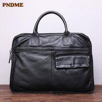 PNDME high quality natural genuine leather men's women's briefcases casual laptop handbags fashion real cowhide messenger bag