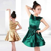 Traje de baile latino niños niña niña latino bailando de alta deocimiento jumpsuit niños salón bailando practica leotardo ropa H21161