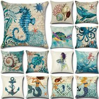 Sea Pattern Cotton Linen Throw Pillow Cushion Cover Car Home...