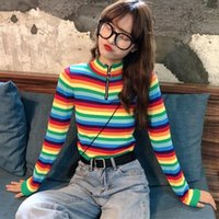 Frauenpullover Kawaii Ulzzang College Candy Color Stripes Pullover Mode Pullover Weibliche Harajuku Kleidung für Frauen1