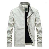 가을 겨울 새로운 화이트 가죽 자켓 남자 PU 코트 남성 스탠드 칼라 롱 코트 패션 비즈니스 겉옷 남성 브랜드 의류 1